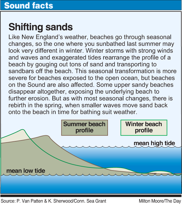 Image shows beach with steeper, higher profile in winter, lower and more beach surface in summer.