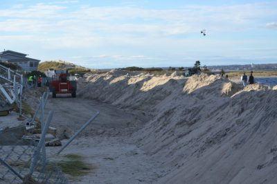 Sand transported landward during Superstorm Sandy used to re-nourish beach. photo: Jennifer O'Donnell